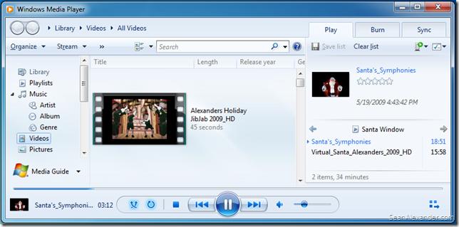 Step 4: Create a WMP Playlist for your Virtual Santa